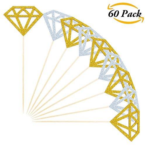 tzer Diamant Kuchen Topper Cupcake Topper Decor für Bridal Dusche Dekoration, Silber und Golden (Diamant-gewicht Papier)