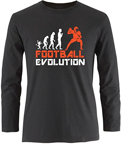 EZYshirt® Football Evolution Herren Longsleeve Schwarz/Weiss/Orange