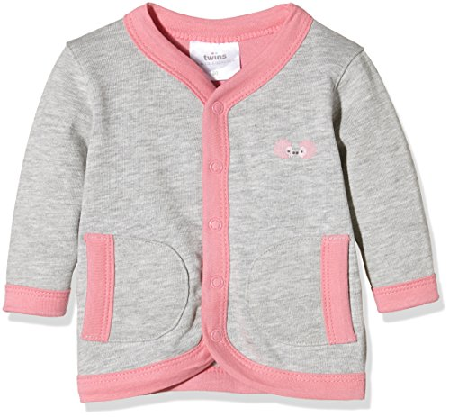 Twins Baby-Mädchen Jacke mit Druckknöpfen, Mehrfarbig (Grau-melange/Rosé 730318), 5-6 Monate (Herstellergröße: 68) - Baby Jacke Kapuzen Mädchen