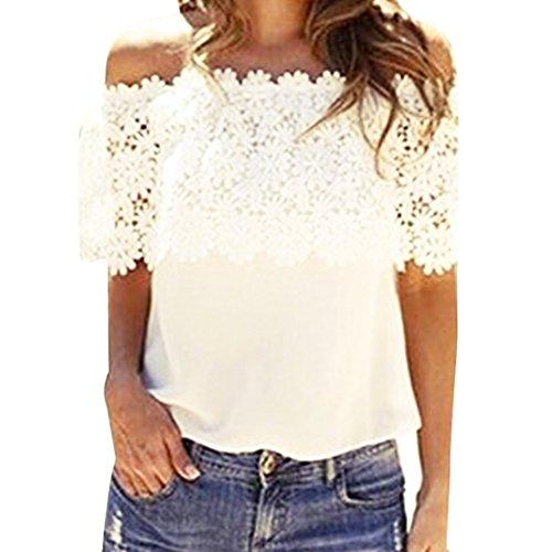 Dream Garden Fashion Women Tops Blouse Lace Crochet Chiffon Shirt (XL)