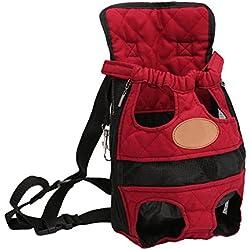 YOUJIA Mochila Bolsa para Perro Gato Mascota, Viaje Bolsa de Transporte - Color sólido Rojo, M (32*20cm)