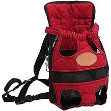 YOUJIA Mochila Bolsa para Perro Gato Mascota, Viaje Bolsa de Transporte - Color sólido Rojo, M