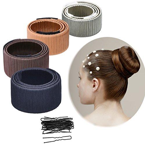 Kyerivs 4 Pack Mädchen Damen French Twist Haar Brötchen Styling Braid Halter Werkzeug mit 20 Haarnadeln