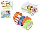 DSstyles Set di dispenser a nastro Washi con 5 nastri adesivi per rotoli Kit di supporto a nastro per mascheramento Carta di nastro adesiva DIY