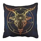 emvency Kissenbezüge Print Pentagramm mit Demon Baphomet Goat Kopf mit Third Eye Binary Symbol Tattoo Retro Musik Polyester Reißverschluss 18x 18Kissen Fall für Home Bett Couch Sofa, plastik, Multi 7, 18x18inches