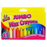 JUMBO WAX CRAYONS 12 COLOURS FOR KIDS ARTS AND CRAFTS (1) by LIVERPOOL ENTERPRISES LTD
