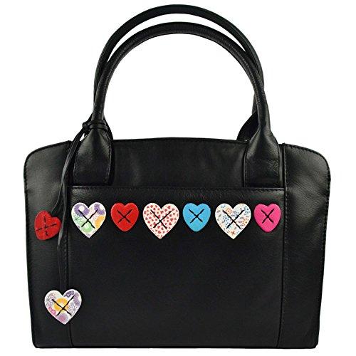 Borsa donna in pelle Grab Bag by Mala Lucy Collezione Tracolla Cuori Black