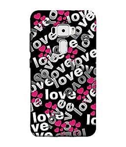 PrintVisa Designer Back Case Cover for Asus Zenfone 3 ZE552KL (5 Inches) (different shades of love heart)