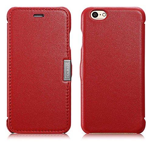 Luxus Tasche für Apple iPhone 6S und iPhone 6 (4.7 Zoll) / Case Außenseite aus Echt-Leder / Schutz-Hülle seitlich aufklappbar / ultra-slim Cover / Rot