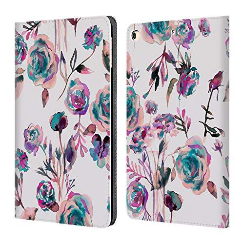 Head Case Designs Offizielle Ninola Malvenfarbiges Rose-Bukett Botanisch Brieftasche Handyhülle aus Leder für iPad 9.7 2017 / iPad 9.7 2018 - Botanische Rosen
