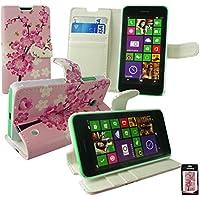 Emartbuy® Nokia Lumia 530 / Lumia 530 Dual Sim Brieftaschen Wallet Etui Hülle Case Cover aus PU Leder Rosa Blossom mit Kreditkartenfächern