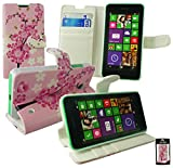 Emartbuy Nokia Lumia 530 / Lumia 530 Dual Sim Premium PU Pelle Supporto Pieghevole Wallet Custodia Case Cover Rosa Fiore con Scomparti per Carte di Credito