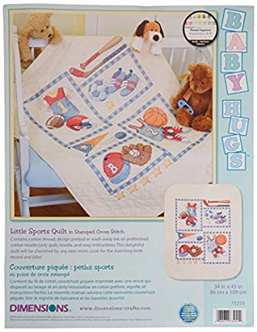 Baby Hugs Little Sports Quilt Stamped Cross Stitch Kit-34