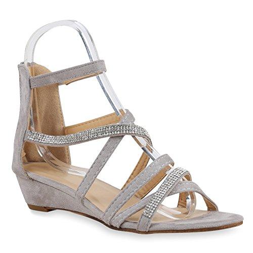 Damen Sandaletten Keilabsatz Metallic Strass Sommerschuhe Wedges Grau Riemchen