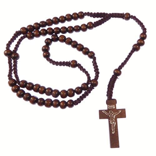 Holz Holz dunkel braune lange Rosenkranz Perlen Halsband 61cm