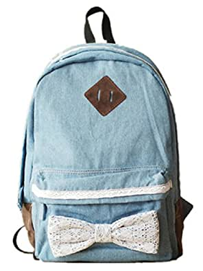 Demin Cloth Lace Butterfly Knot Fashion Sweet Cute Style Cross Shoulder School Bag BackPack (Sky Blue)