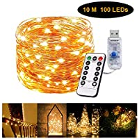 Gluckluz String Lights 100 LED Indoor Fairy Lighting USB Powered Starry Copper Wire Firefly Twinkle Warm Decoration with Remote Control 8 Modes for Bedroom Outdoor Garden Party Wedding