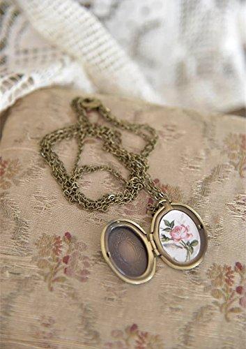 Antike Medaillon-halskette (Medaillon mit Halskette Metall Deko antikgold Vintage Landhaus Shabby Antik French Nostalgie von Jeanne d' Arc Living)