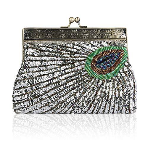 AQUYY Damen Clutch, Handgefertigte Perlen Tasche Retro Bankett Tasche Diagonal Cross-Strap Dance Bag Wallet Silver (Messenger Bag Cross-strap)