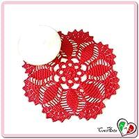 Tapete redondo rojo de ganchillo en algodón - Tamaño: ø 26 cm - Handmade - ITALY