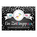 Große XXL Design Geburtskarte zur Geburt/Zwillinge/mit Umschlag/A4/Junge und Mädchen Rosa Blau/Baby geboren/Grußkarte zur Gratulation Eltern