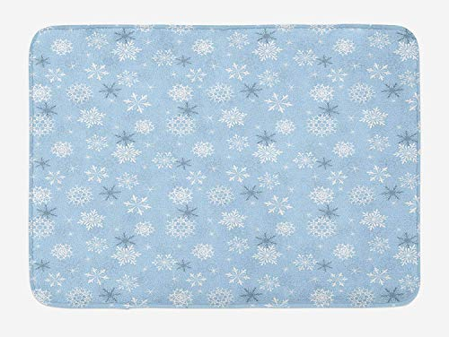 Icndpshorts Winter Bath Mat, Cold Weather in Winter New Year`s Eve Traditional Holiday Christmas Stars, Plush Bathroom Decor Mat with Non Slip Backing, 23.6 x 15.7 Inches, Baby Blue Grey White Combo Winter Liner