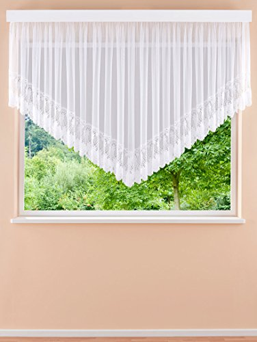 Plauener Spitze Lorren Hochwertige V Gardinen Fertiggardinen Stores Blumenfenster H/125 x B/450 cm