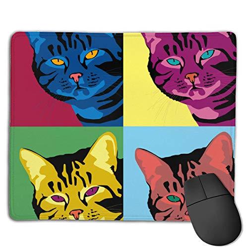 Design Rechteck Rutschfeste Gummi Gaming Mousepad (süße Katze Portraits Kunst)