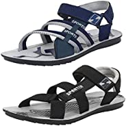 Bersache Men's Casual Combo Pack of 2 Canvas Multi-Color Sandal &