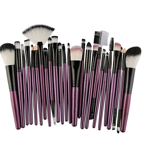 Pinceaux Maquillage, Koly 25 Pcs Maquillage Outils Brush Set Maquillage Trousse De Toilette Laine Makeup brushes set (Violet)