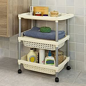 sobuy badregal rollwagen aufbewahrungswagen nischenwagen. Black Bedroom Furniture Sets. Home Design Ideas