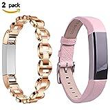 Pour Fitbit Alta Bandes, 2 Pack Bracelet en cuir de rechange réglable + Bracelet en strass en métal Bracelet Accessoire Bague de montre Pour Fitbit Alta & Alta HR Fitness Tracker (Rose or + Rose)