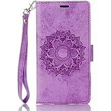 Funda LG G3 (5,5 Zoll) Case , Ecoway Mandala patrón en relieve PU Leather Cuero Suave Cover Con Flip Case TPU Gel Silicona,Cierre Magnético,Función de Soporte,Billetera con Tapa para Tarjetas ,Carcasa Para LG G3 (5,5 Zoll) - púrpura