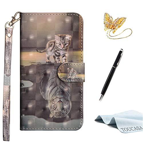 TOUCASA S9 Plus Handyhülle,S9 Plus Hülle, Brieftasche Flip PU Leder ledercaseHülle Kartenfächer [3D Oberfläche] Ultra Glatte Berührung fürSamsung S9 Plus-(Tiger Katze)+StylusPen