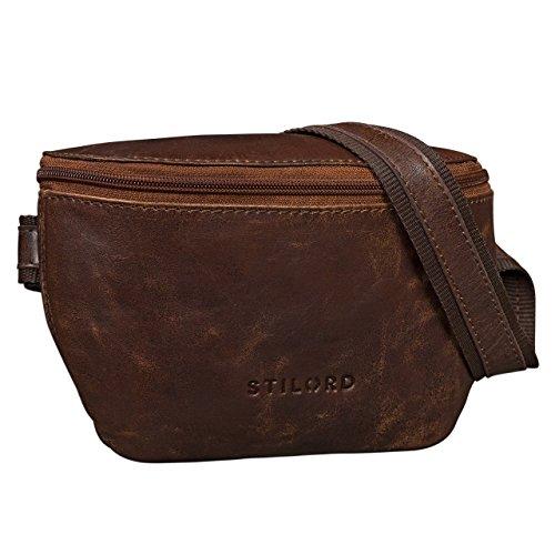 STILORD 'Jules' Riñonera de piel vintage pequeño bolso bandolera de cadera para hombres mujeres bolso con correa para teléfono móvil fiesta deporte viaje , Color:marrón antico