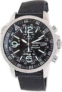 Seiko - SSC135P1 - Solar - Montre Homme - Automatique Chronographe - Cadran Noir - Bracelet Tissu Noir