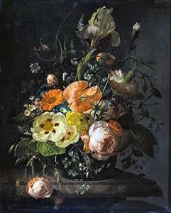 Still Life avec fleurs sur un Marbre de table–Rachel Ruysch 1716–Décoration murale en aluminium 15x 20cms