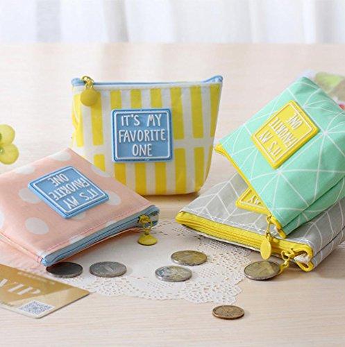 weimay Portafoglio Semplice Stile Zip monete sacchetto piccolo Mappe Borsa per Trucco chiave 12 * 3,5 * 9cm Grau Gelb