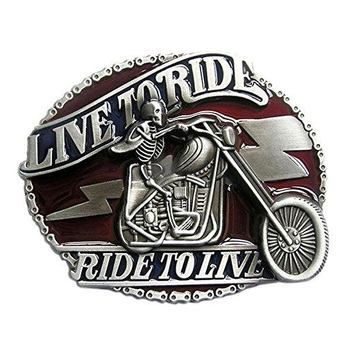 Boucle ceinture pour lanière cuir skull motard live to ride