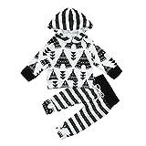 URSING Neugeboren Säugling Baby Junge Mädchen Zelt Drucken Kapuzenpullover Warm T-Shirt Sweatshirt Tops + Gestreift Druckhose Sport Hose Outfits Kleider Set babyausstattung (100CM, Weiß)