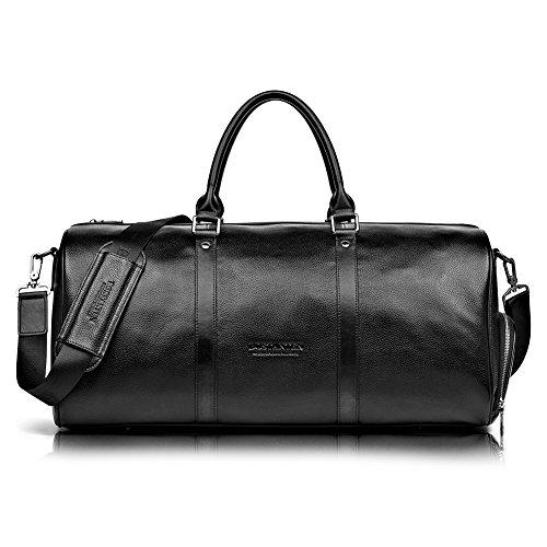 BOSTANTEN Herren/Damen XL Reisetasche echt Ledertasche Weekendertasche Handgepäck Umhängetasche Wochenende Sporttasche Freizeittasche Groß Schwarz