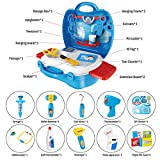 iBaseToy Kids Doctor Kit 27pcs Pretend Doctor Role Play Set Educational Medical Case with Electronic Stethoscope for Boys Girls (Blue)