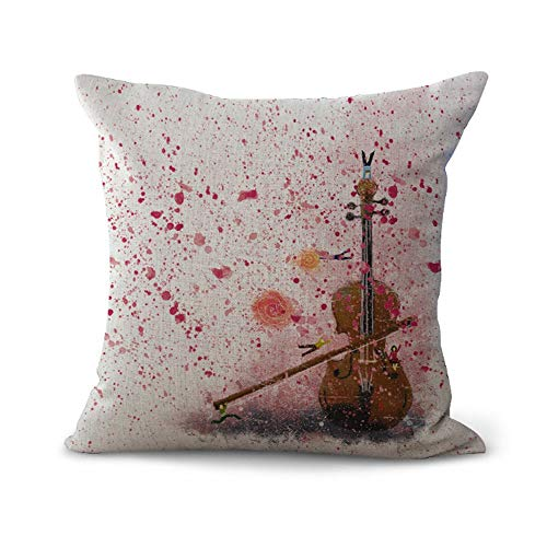 OPoplizg Cushion Cover Musical Instrument Violin Colorful Brilliant Musical Note Creative Art Pillow Case Home Bar Club Car Bed Decor Sofa Cushion Cover 45cm x 45cm(18 x 18inch) MY-C1085-01 (#7)