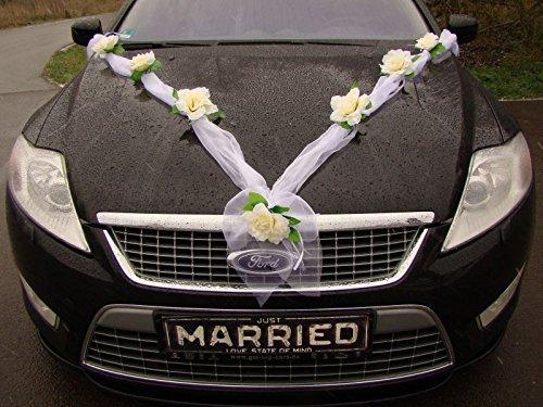 GIRLANDE M Auto Schmuck Braut Paar Rose Deko Dekoration Autoschmuck Hochzeit Car Auto Wedding Deko Girlande PKW (Ecru / Weiß)