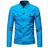 Goldatila Männer Einfarbig Vintage Denim Jacke Herbst Winter Tops Bluse Mantel