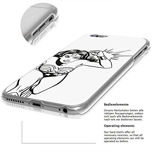 finoo | iPhone 8 Plus Handy-Tasche Schutzhülle | ultra leichte transparente Handyhülle in harter Ausführung | kratzfeste stylische Hard Schale mit Motiv Cover Case |Wonder woman Art Lineart Dodge