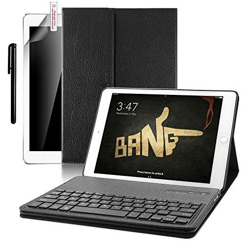 luetooth Tastatur Hülle, Boriyuan Kunstleder Hülle mit abnehmbare Wireless Bluetooth Tastatur(QWERTZ Tastatur) für Neu Apple iPad 9,7 zoll- (Schwarz) (Apple Keyboard Case Ipad 6)