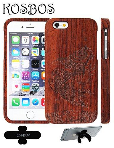 Hülle für iPhone SE 5 5S Forepin® Rosenholz Case Schutzhülle Echtem Holz Schutzhülle Hart Cover Bumper Rahmen Handyschale, Löwe Karpfen