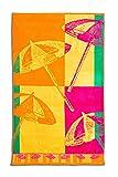 DecoKing 90x160 bunt Strandtuch Badetuch Duschtuch Sonnenschirmemotiv 400g/qm ägyptische Baumwolle Velour Frottee Strand
