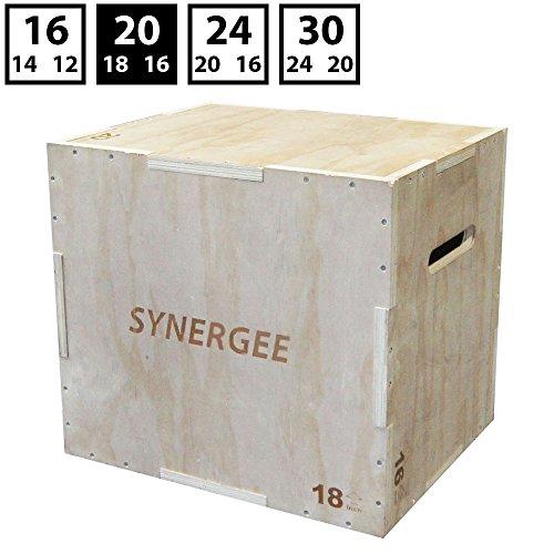 Synergee 3 en 1 caja de madera pliométrico para salto adiestramiento y acondicionamiento .Tamaño - 20/18/16